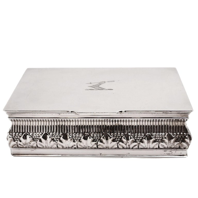 Sterling Silver Antique Solid Silver Cigar Box / Cigarette Box 1902 Chased with Crest For Sale