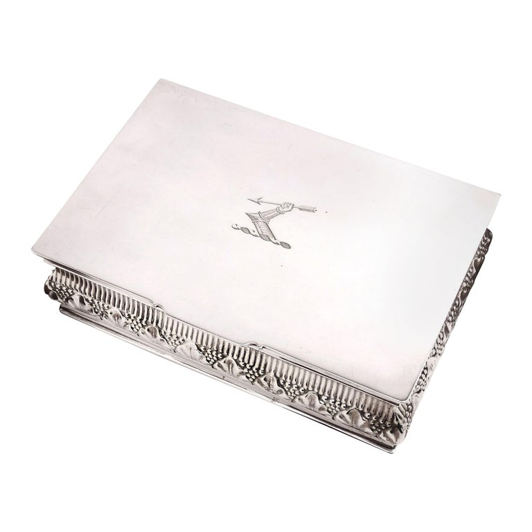 Antique Solid Silver Cigar Box / Cigarette Box 1902 Chased with Crest For Sale