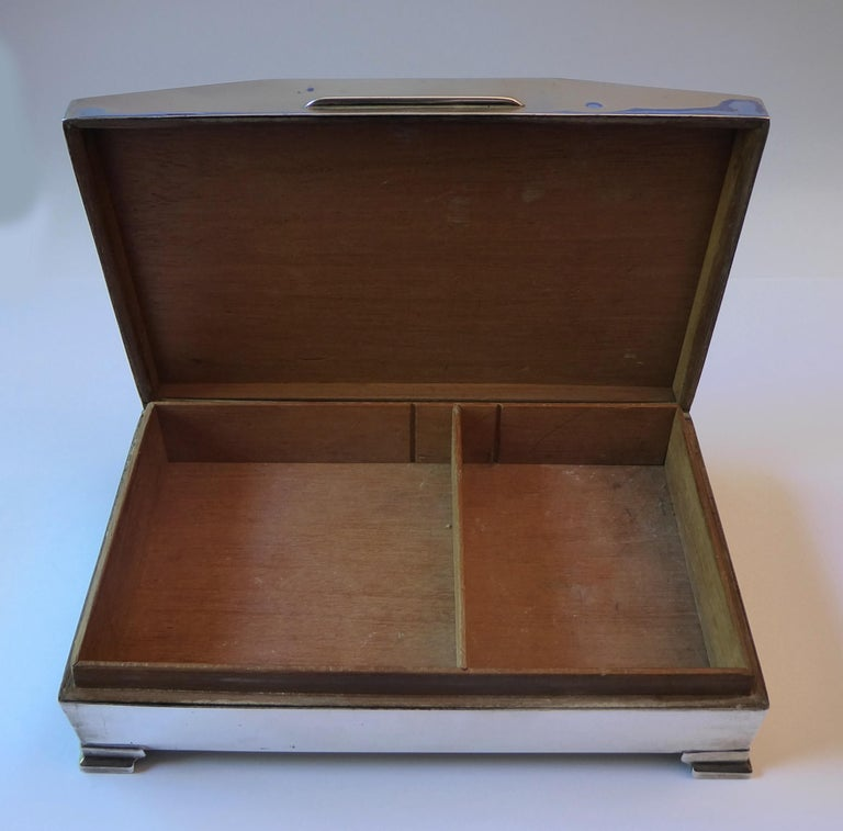 Antique Solid Silver Cigarette Case Box Birmingham, 1960 For Sale 5