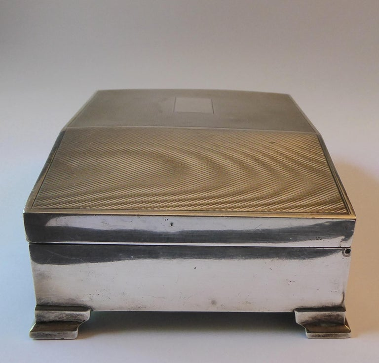 British Antique Solid Silver Cigarette Case Box Birmingham, 1960 For Sale