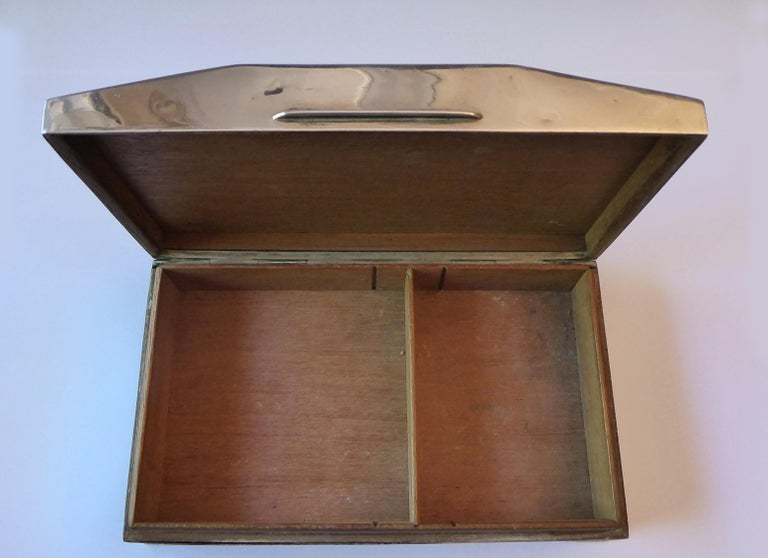 Antique Solid Silver Cigarette Case Box Birmingham, 1960 For Sale 3