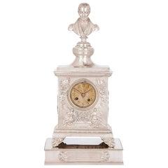 Antique Solid Silver Inscribed Mantel Clock