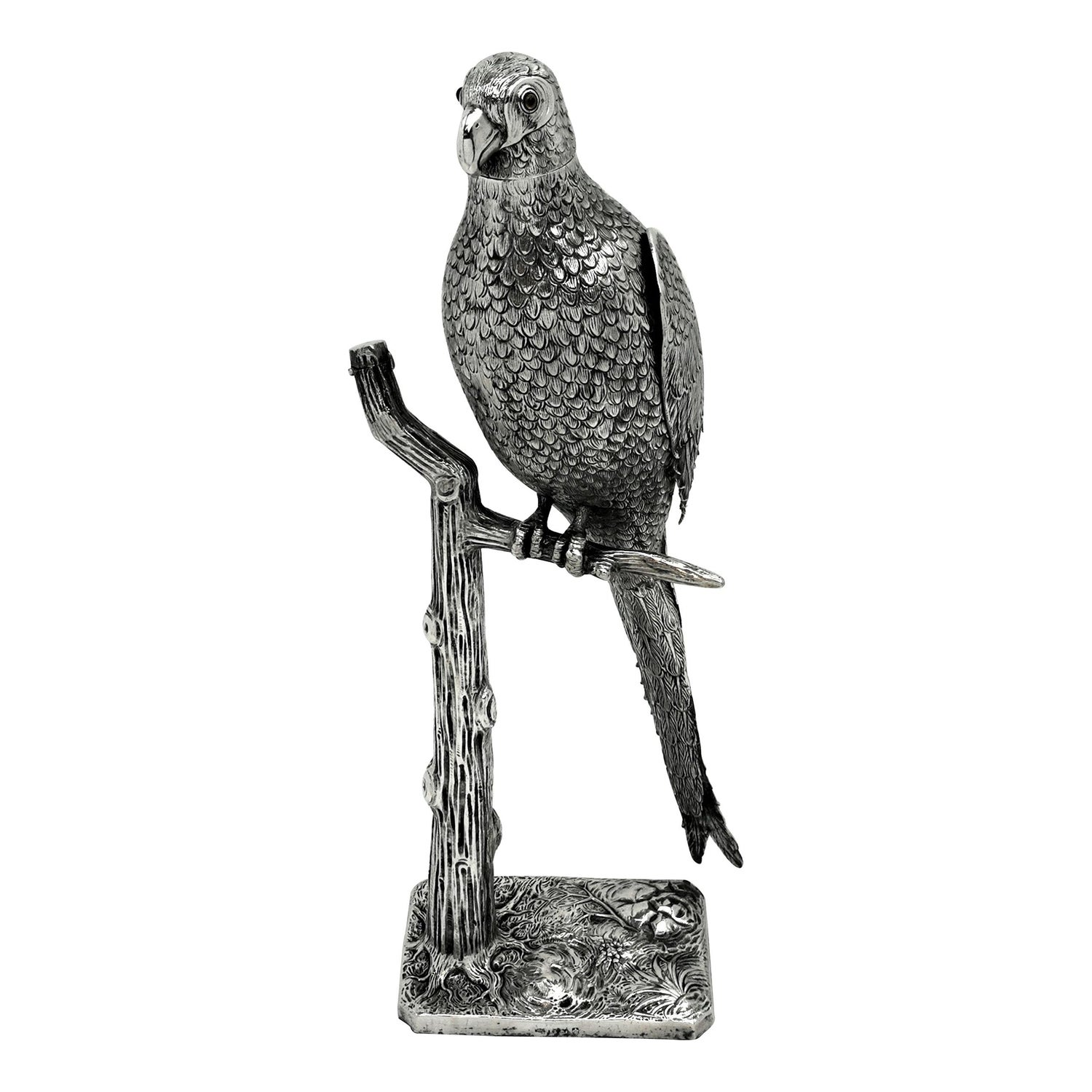 Antique Solid Silver Parrot Model Figurine German circa 1900 Bird