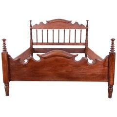 Antique Solid Walnut Jenny Lind Spindle Bed Frame