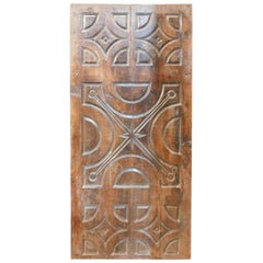 Antique Solid Wood Brown Panel, Richly Carved, 18th Century, Italy