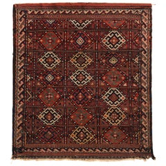 Antique Soumak Kilim Red Russian Tribal Flat-Weave