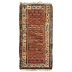 Antique Soumak Traditional Burgundy Red and Blue Wool Rug