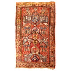 Antique Soumak Transitional Geometric Red and Blue Wool Rug