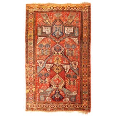 Antique Soumak Transitional Geometric Red and Blue Wool Southwestern Pattern Rug