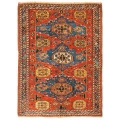 Antique Soumak Transitional Red and Blue Geometric Wool Rug