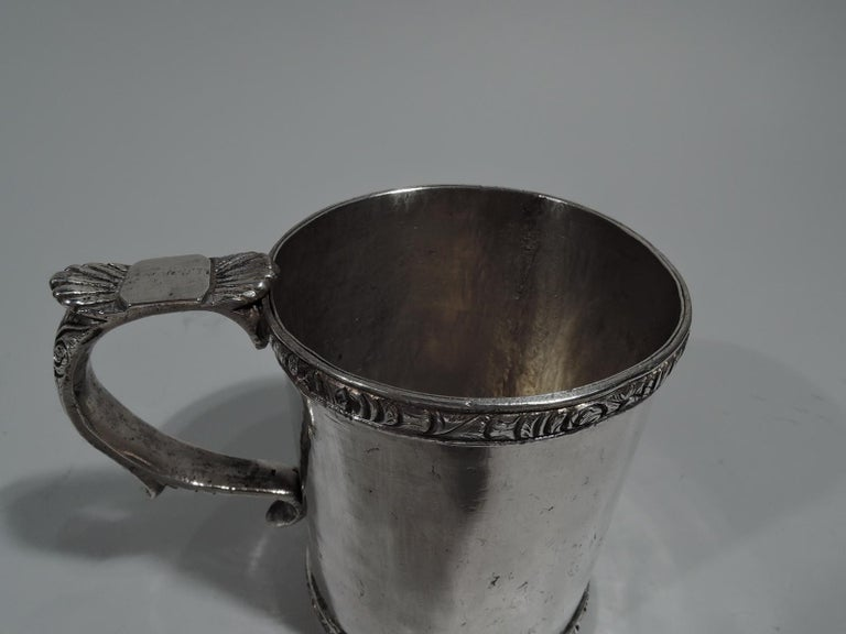 Neoclassical Antique South American Classical Silver Christening Mug For Sale