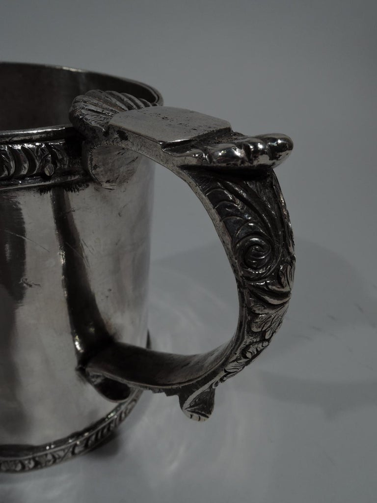 19th Century Antique South American Classical Silver Christening Mug For Sale