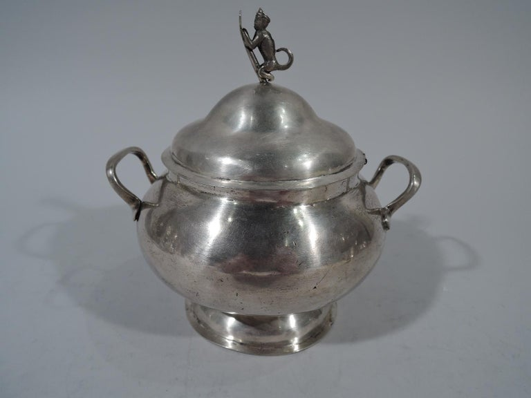 Spanish Colonial Antique South American Silver Sugar Bowl For Sale