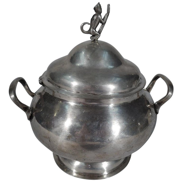 Antique South American Silver Sugar Bowl For Sale