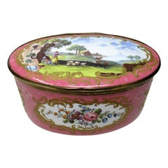 Antique South Staffordshire Battersea Enamel Georgian Table Box, 19th Century