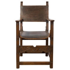 Antique Spanish Armchair Early 20th Century Leather Oak