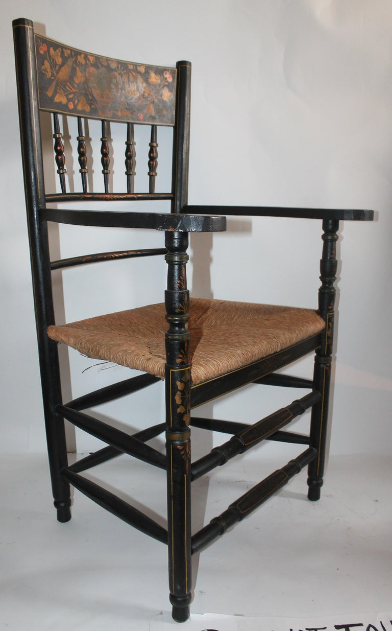 Country Antique Spanish Armchair in Original Decorated Paint For Sale