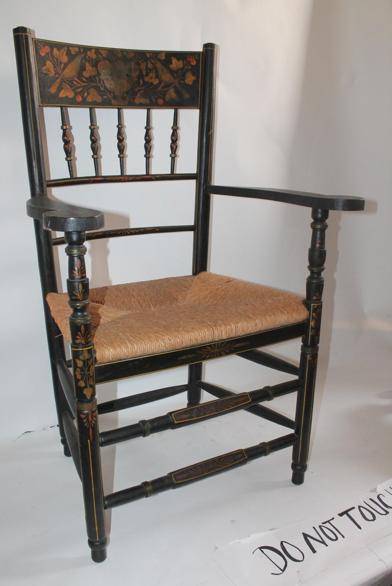 Antique Spanish Armchair in Original Decorated Paint In Good Condition For Sale In Los Angeles, CA