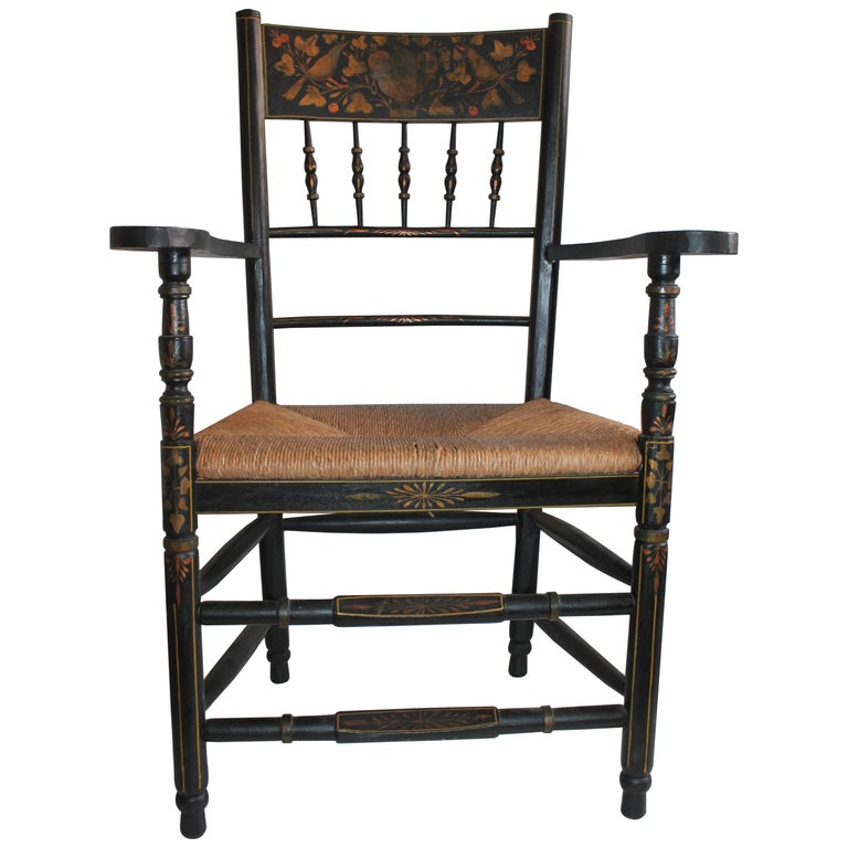 Antique Spanish Armchair in Original Decorated Paint For Sale