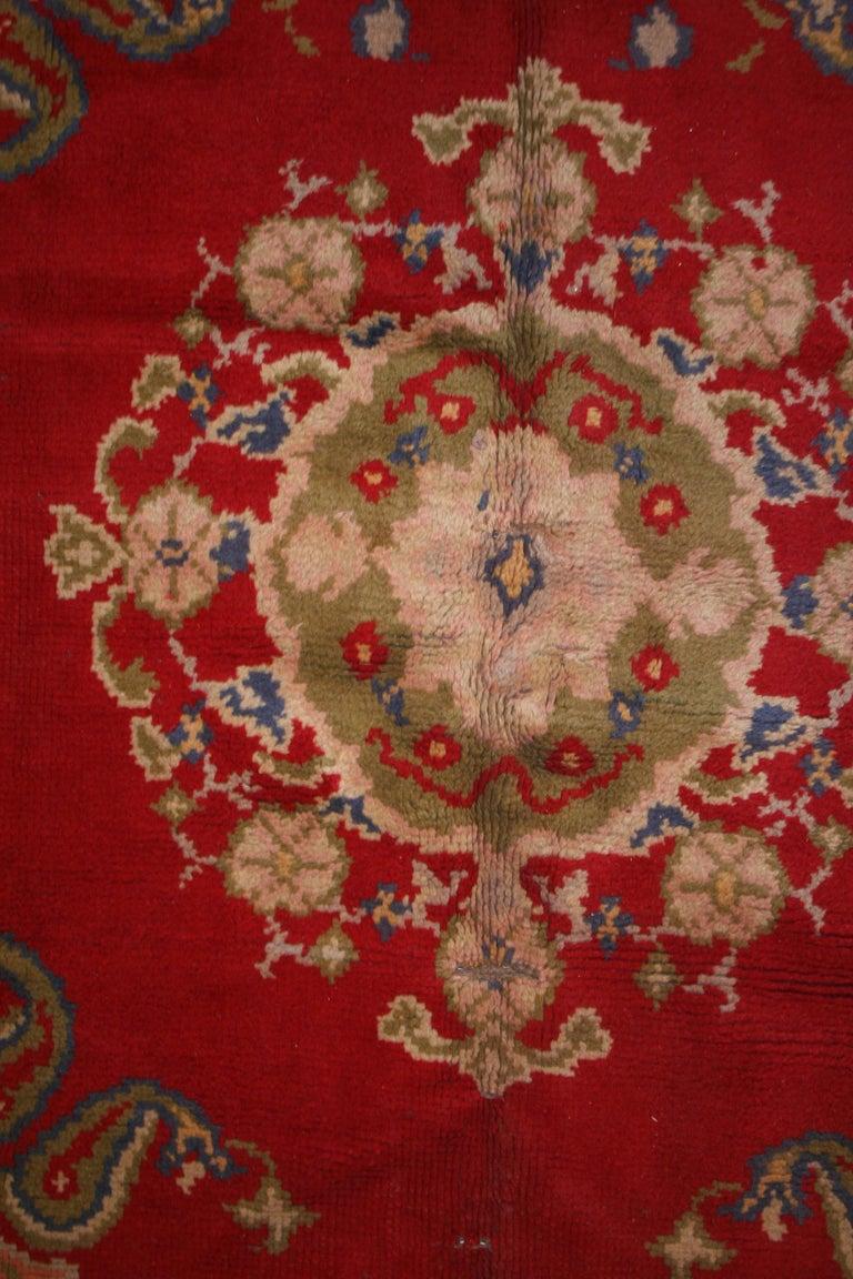 Hand-Knotted Antique Spanish Art Nouveau Orientalist Square Rug For Sale