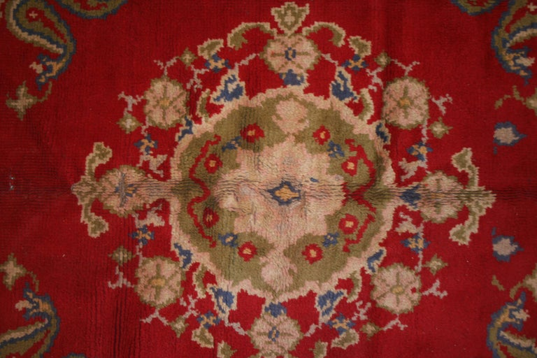 Antique Spanish Art Nouveau Orientalist Square Rug In Fair Condition For Sale In Milan, IT