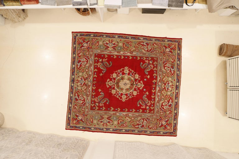 Antique Spanish Art Nouveau Orientalist Square Rug For Sale 3