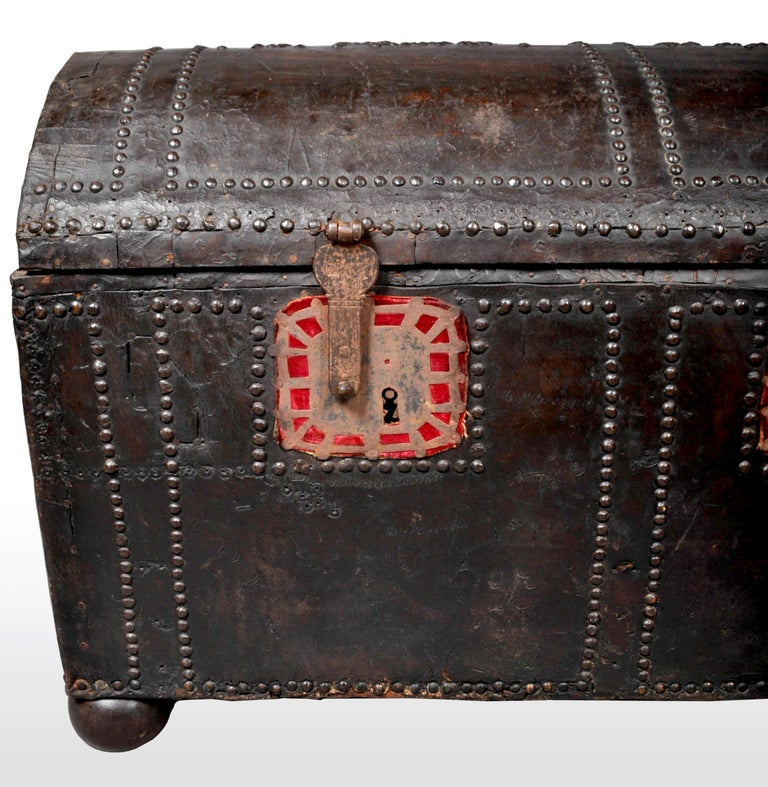 Early 18th Century Antique Spanish Baroque Leather and Studded Wedding Trunk / Coffer, circa 1700 For Sale