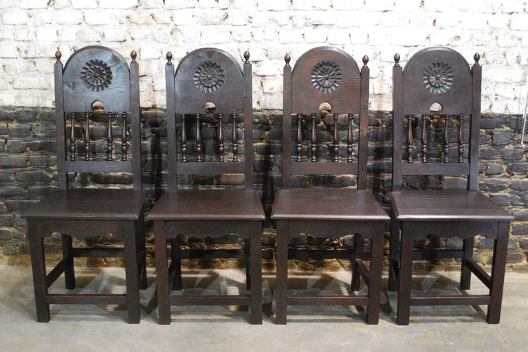 Antique Spanish Baroque Trestle Farm Table and Chairs Set in Chestnut For Sale 10