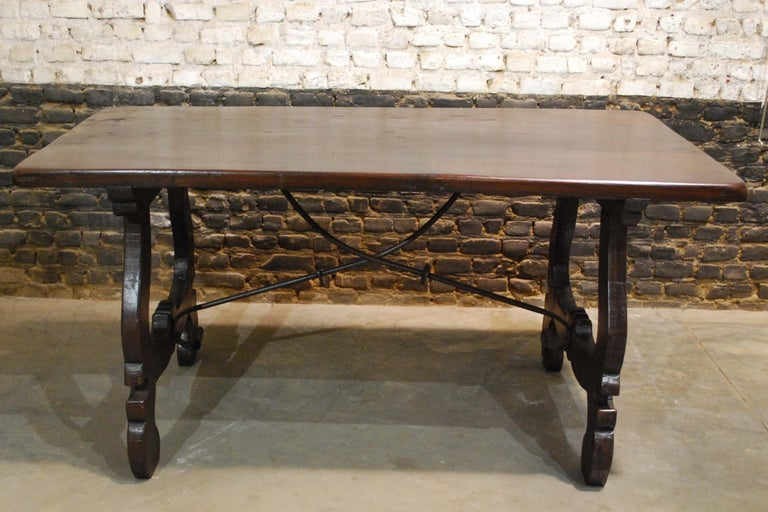 Italian Antique Spanish Baroque Trestle Farm Table and Chairs Set in Chestnut For Sale