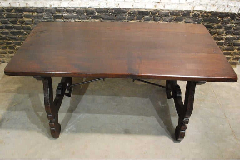 20th Century Antique Spanish Baroque Trestle Farm Table and Chairs Set in Chestnut For Sale