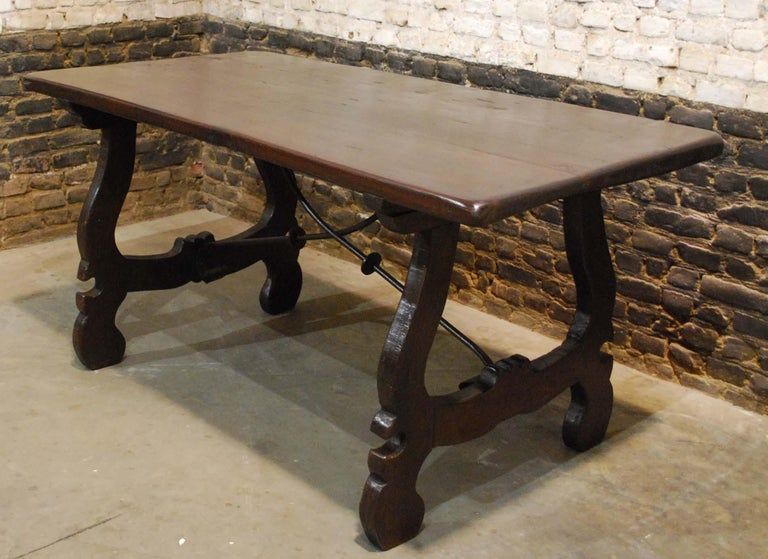 Steel Antique Spanish Baroque Trestle Farm Table and Chairs Set in Chestnut For Sale