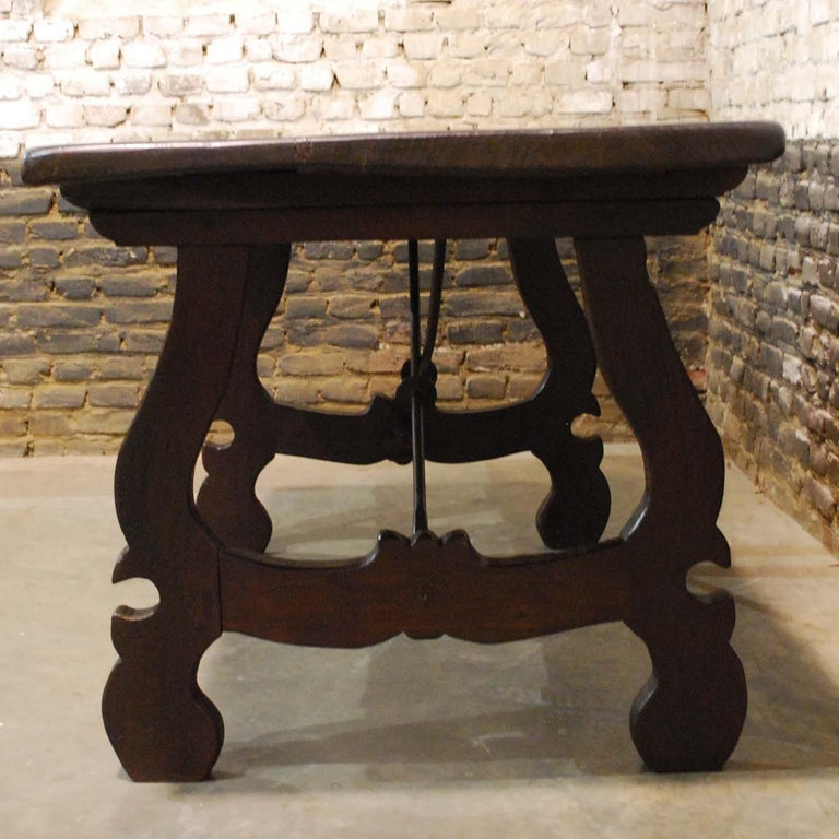 Antique Spanish Baroque Trestle Farm Table and Chairs Set in Chestnut For Sale 3