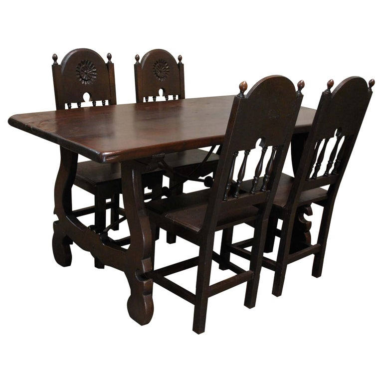 Antique Spanish Baroque Trestle Farm Table and Chairs Set in Chestnut For Sale