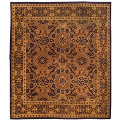 Antique Spanish Beige and Black Handwoven Wool Rug