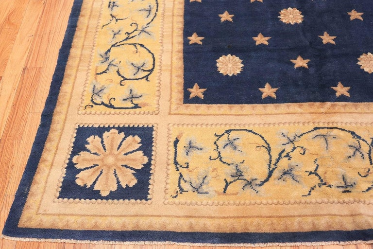 Hollywood Regency Antique Spanish Carpet with Celestial Design. Size: 11 ft 5 in x 12 ft 9 in For Sale