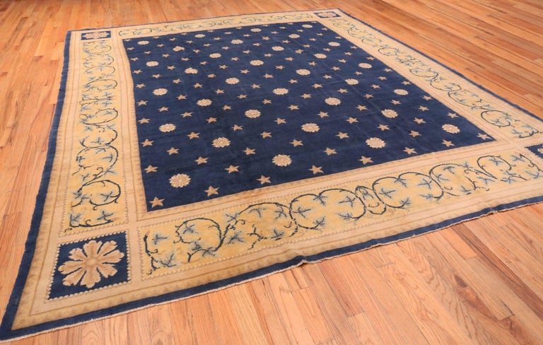 Hand-Knotted Antique Spanish Carpet with Celestial Design. Size: 11 ft 5 in x 12 ft 9 in For Sale