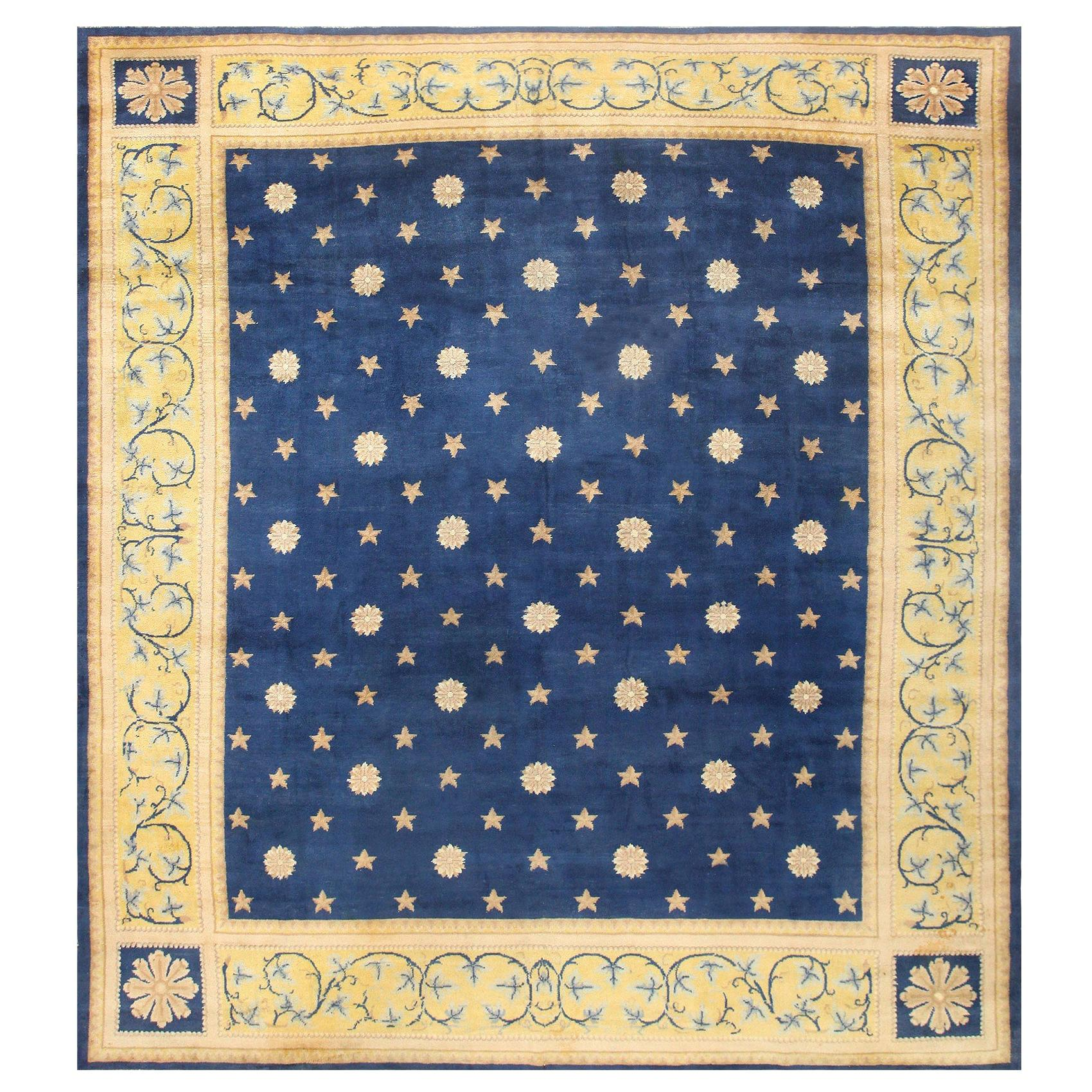 Antique Spanish Carpet with Celestial Design. Size: 11 ft 5 in x 12 ft 9 in