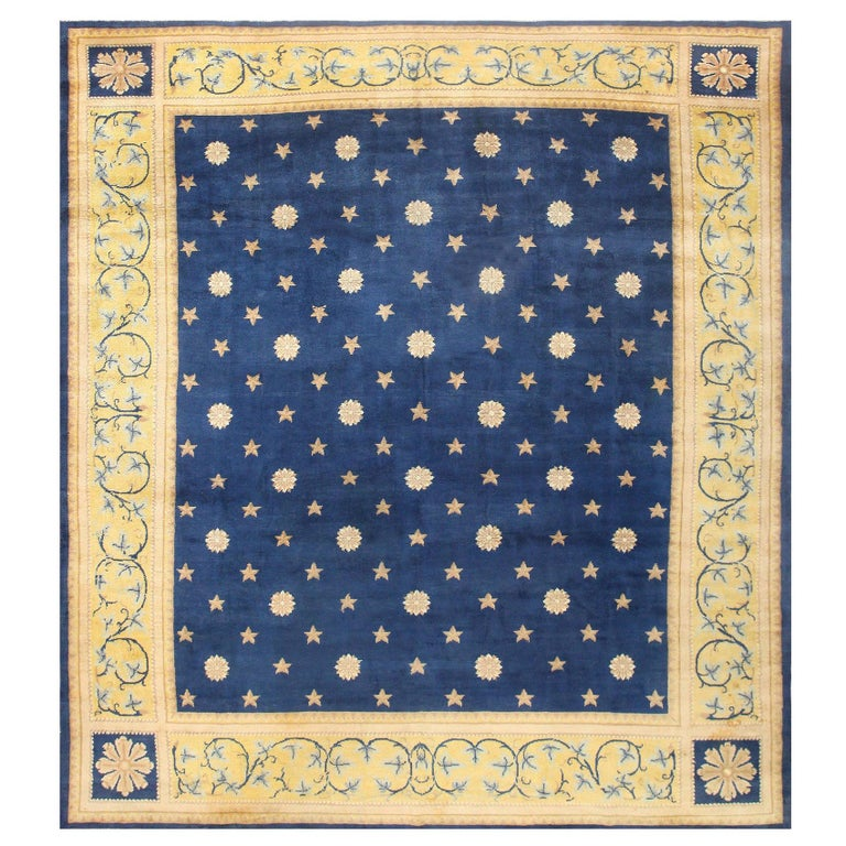 Antique Spanish Carpet with Celestial Design. Size: 11 ft 5 in x 12 ft 9 in For Sale