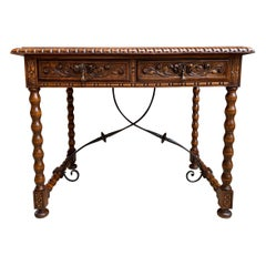 Antique Spanish Carved Oak Office Desk Writing Sofa Side Table Catalan Iron