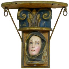 Antique Spanish Colonial Carved Wood Shelf 19th Century with Virgin Mary