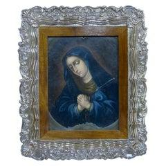 Spanish Colonial Oil on Copper Retablo Painting Virgin Dolorosa 18th Century