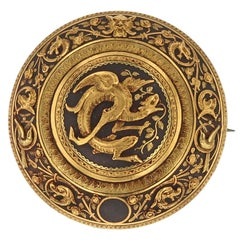 Antique Spanish 'Damascene' Embossed Steel and Gold Dragon Brooch