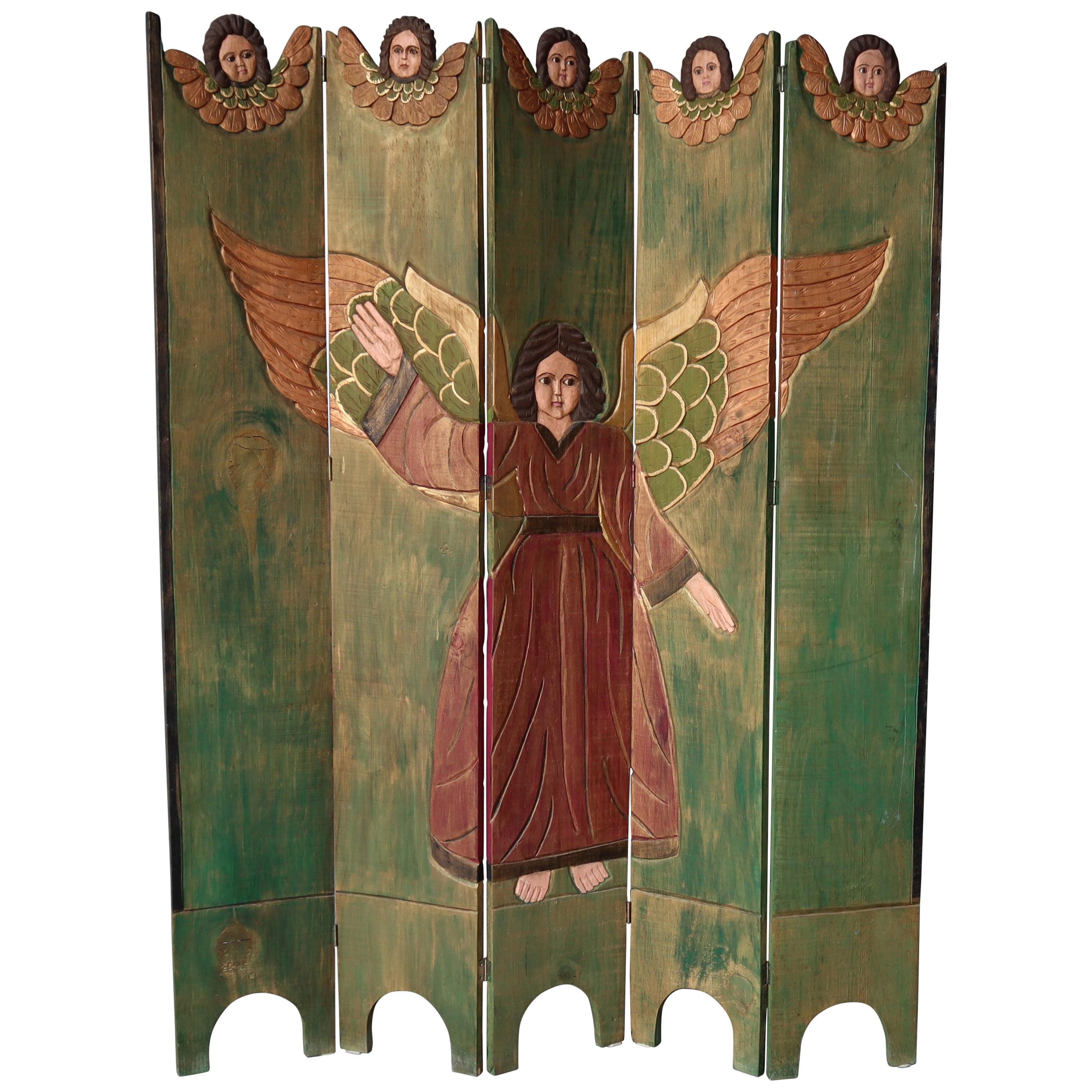 Antique Spanish Folk Art Five-Panel Screen Room Divider
