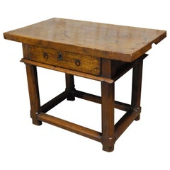 Antique Spanish Honey Color Solid Walnut Side Table with Drawer