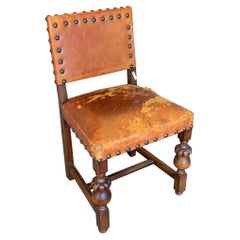 Antique Spanish Leather Side Chair with Brass Nailhead Detail