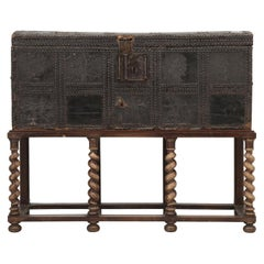 Antique Spanish Leather Trunk and a Barley Twist Stand, circa 1600s