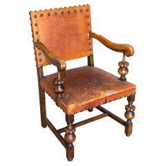 Antique Spanish Leather & Wood Armchair with Brass Nailhead Details