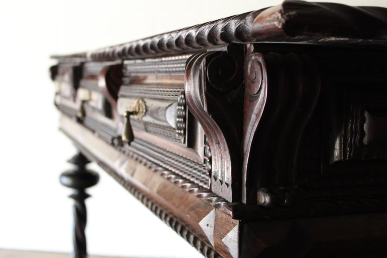 Carved Antique Portuguese Library Table For Sale