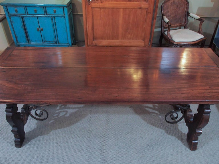 Elizabethan Antique Spanish Mahogany Trestle Table For Sale