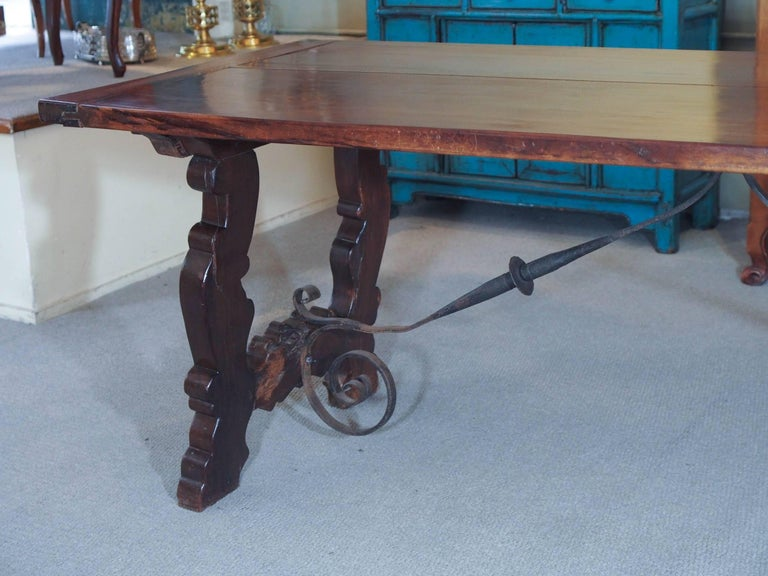 19th Century Antique Spanish Mahogany Trestle Table For Sale